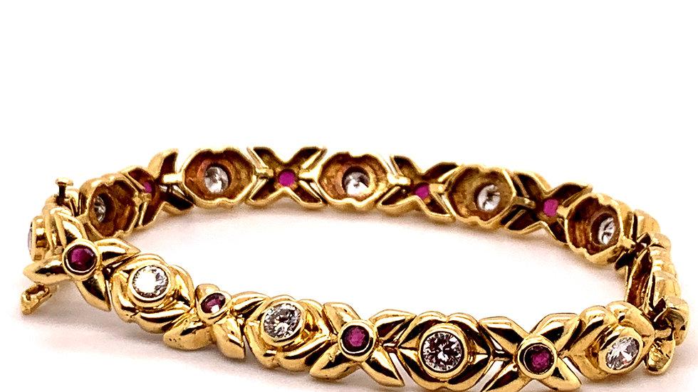 18K Yellow Gold Diamond and Ruby Bracelet