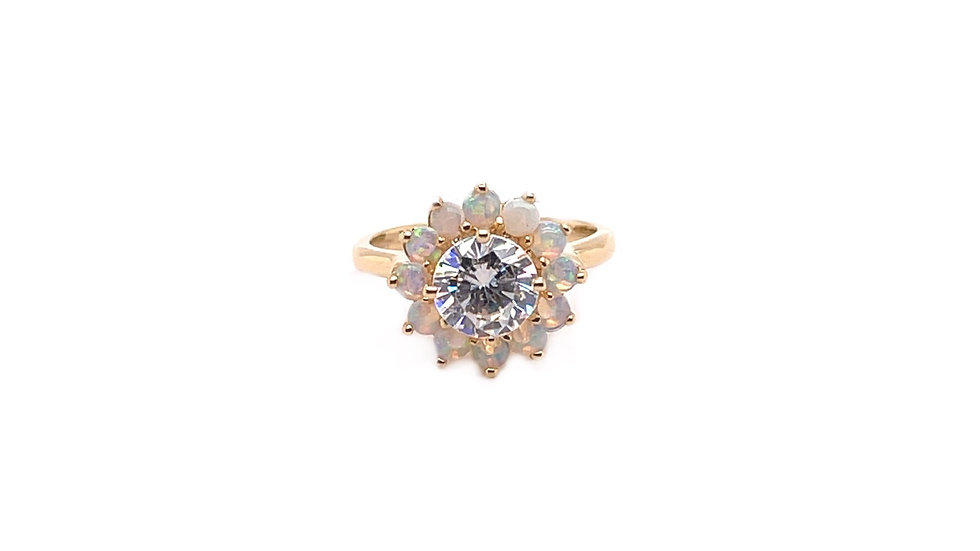 14K Opal and Cubic Zirconia Ring