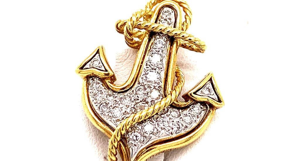 Two-Tone 18K Diamond Anchor Broach