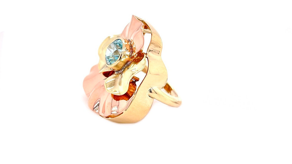 14K Yellow and Rose Flower Blue Zircon Ring