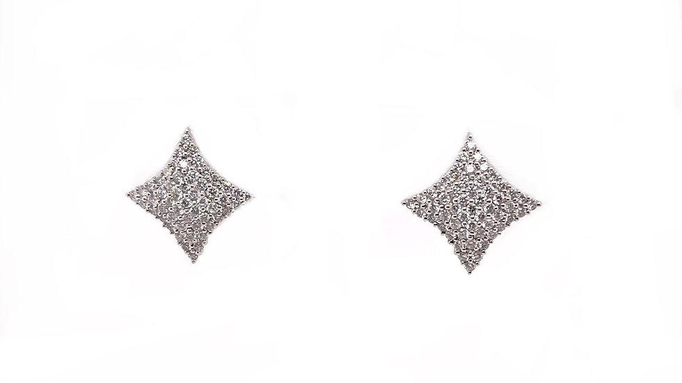 14K White Diamond Earrings