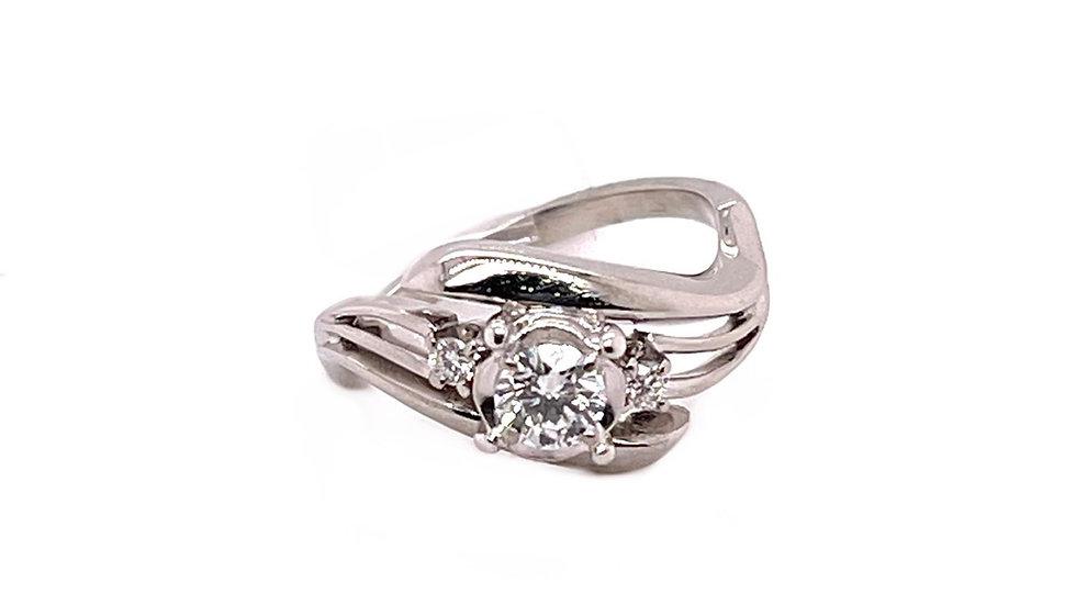 18K Bypass Diamond Ring