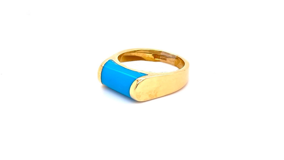 18K Yellow Gold Turquise Ring