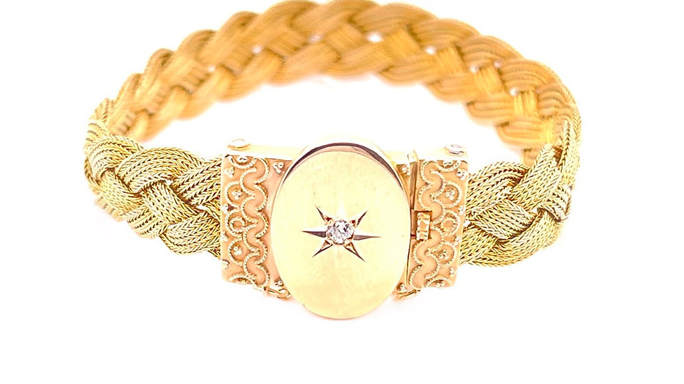 14K Diamond Braided Bracelet