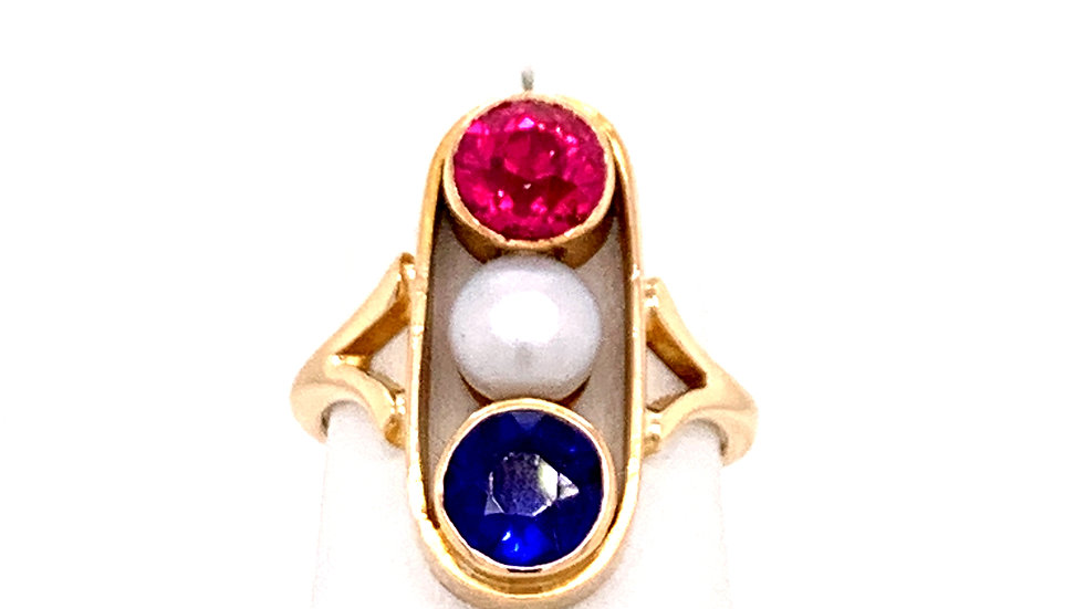 14K Yellow Gold Pearl, Ruby, Sapphire Ring