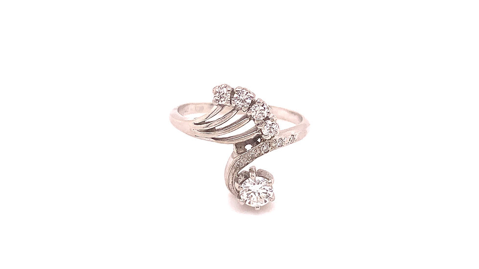 14K White Gold Bypass Style Fashion Ring