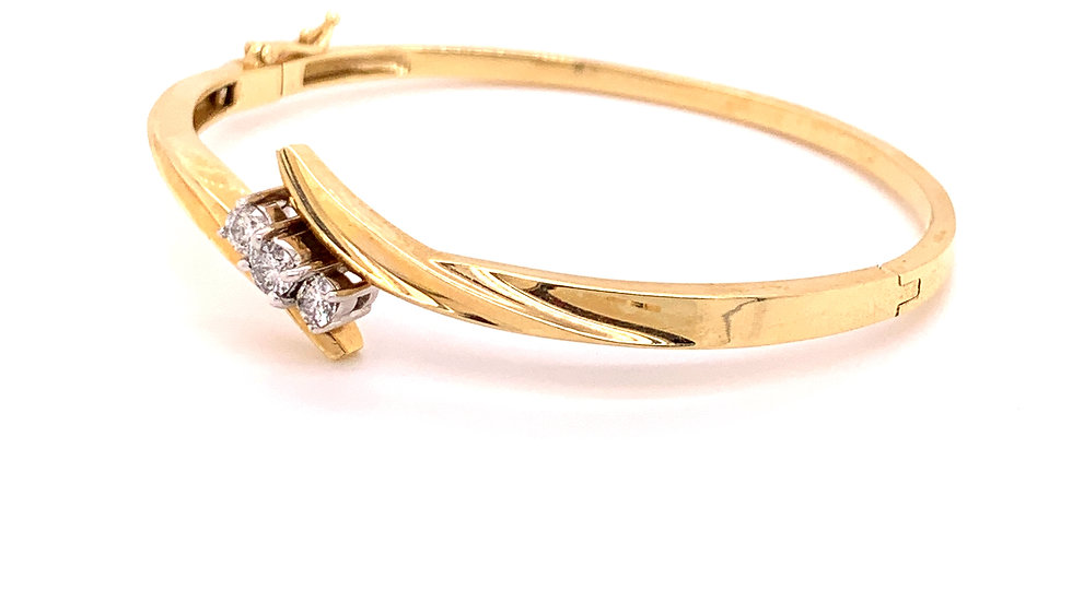 14K Yellow and White Gold Bangle