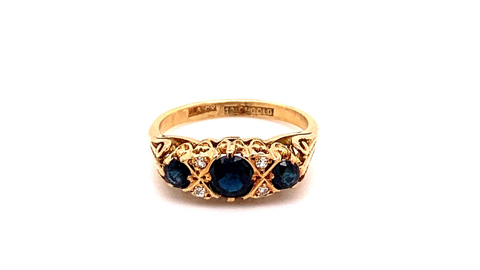 18K Yellow Gold Three Stone Sapphire and Diamond Ring