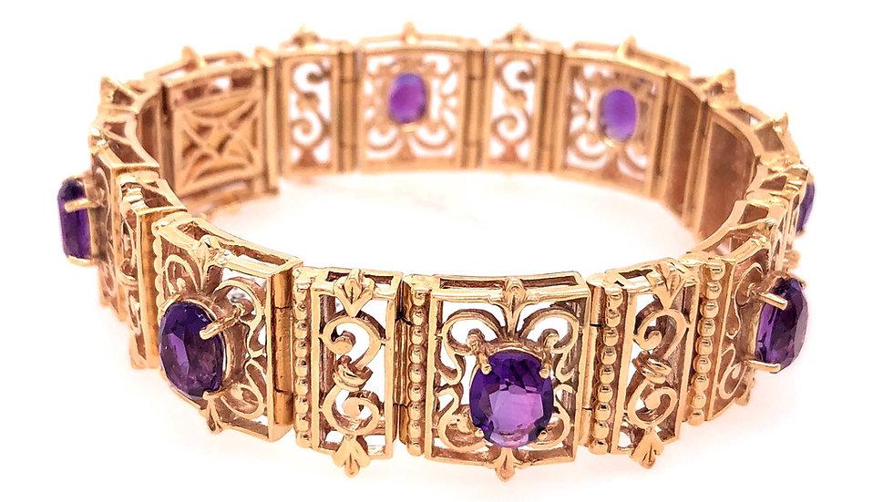 14K Amethyst Bracelet