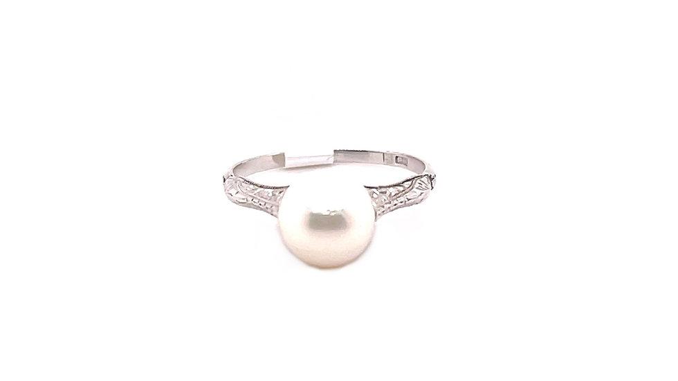 Platinum Cultured Pearl Ring