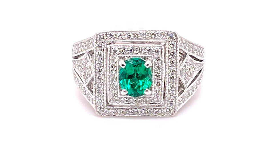 18K Emerald & Diamond Ring