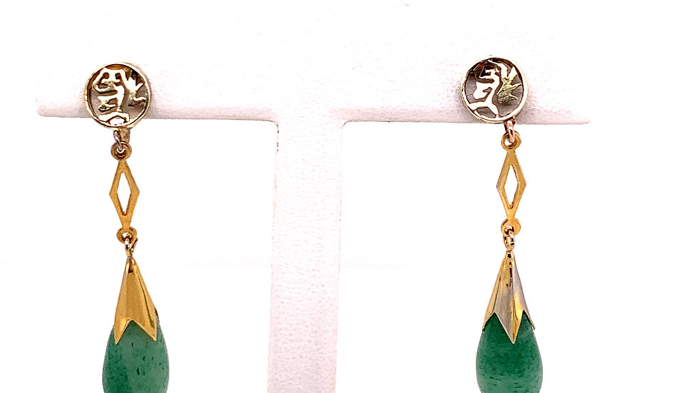 14 Karat Yellow Gold Jade Earrings