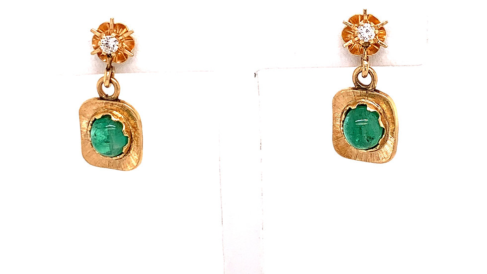 14K Yellow Gold Diamond and Jade Earrings