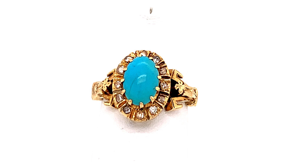 14K Yellow Gold Diamond and Turquoise Ring