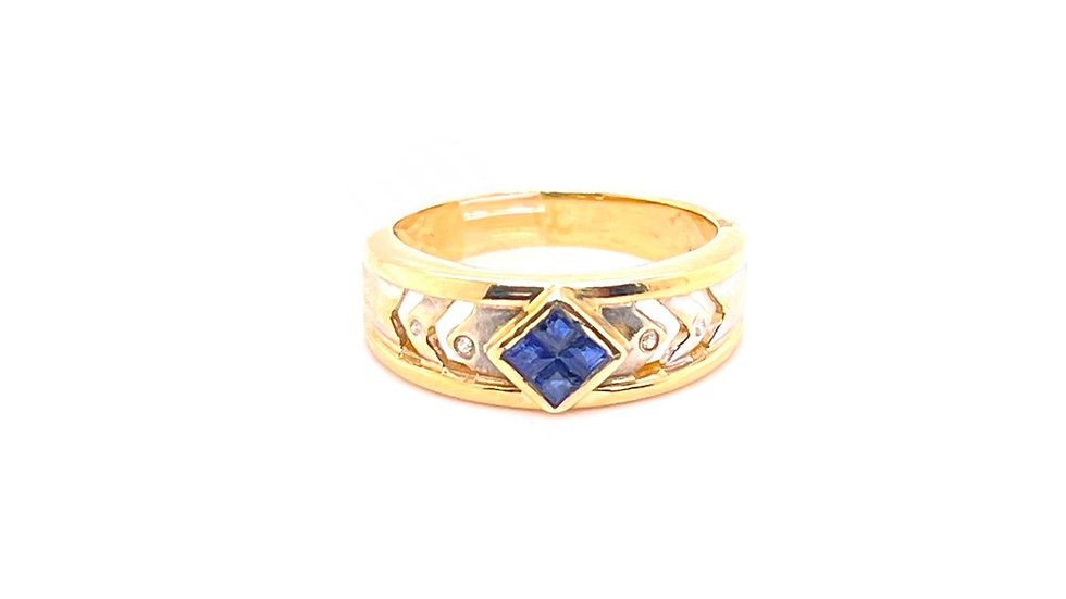 14K Two Tone Sapphire and Diamond Ring