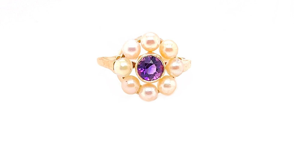 14K Cultured Pearl and Amythest Ring