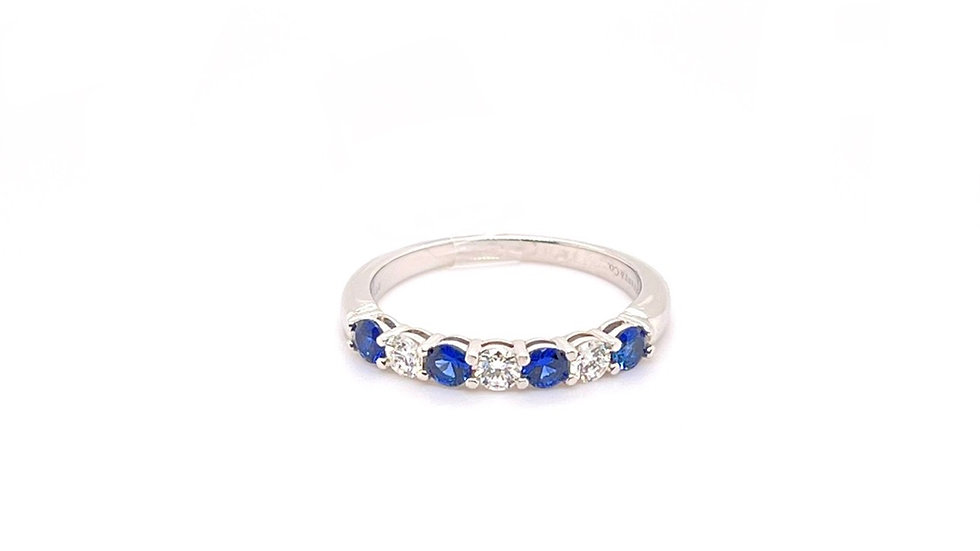 Platinum Tiffany Sapphire and Diamond Band