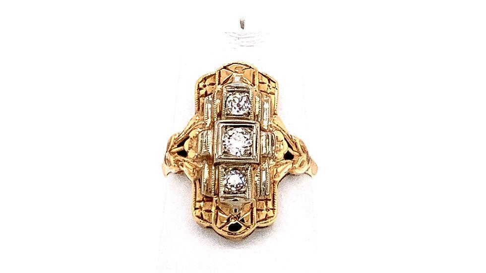 14K Two-Tone Diamond Ring