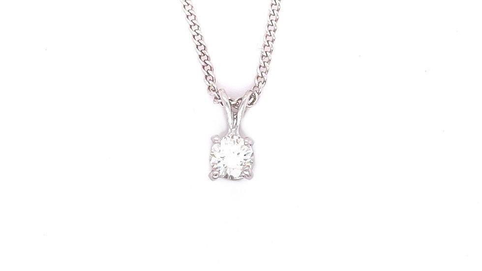 14K Diamond Solitaire Necklace