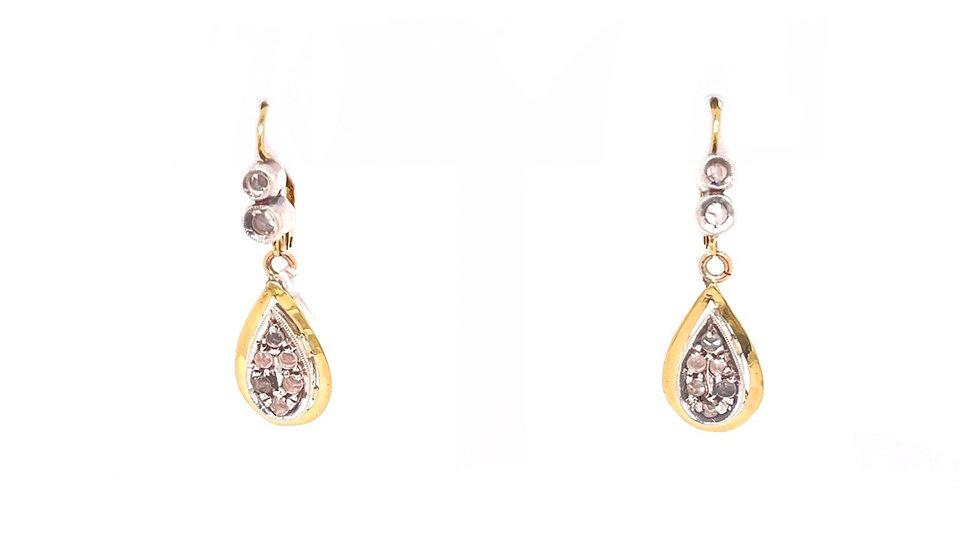 14K Two-Tone Drop Earrings