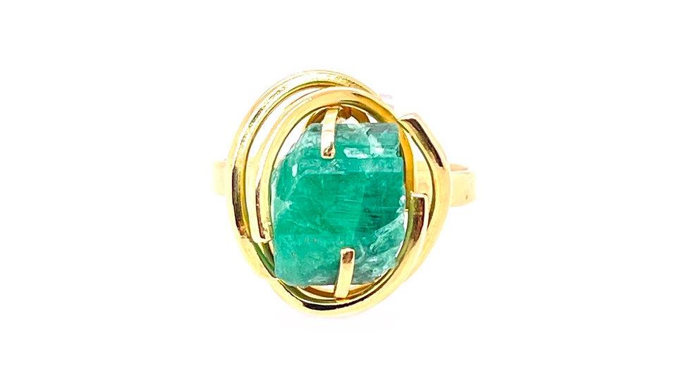 14K Raw Emerald Ring