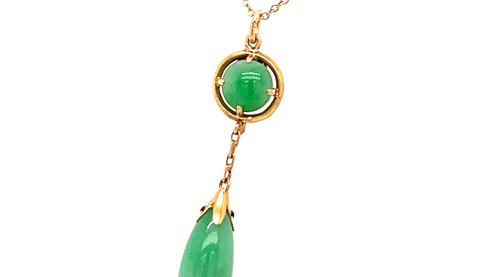 14k Yellow Gold Jade Victorian Necklace