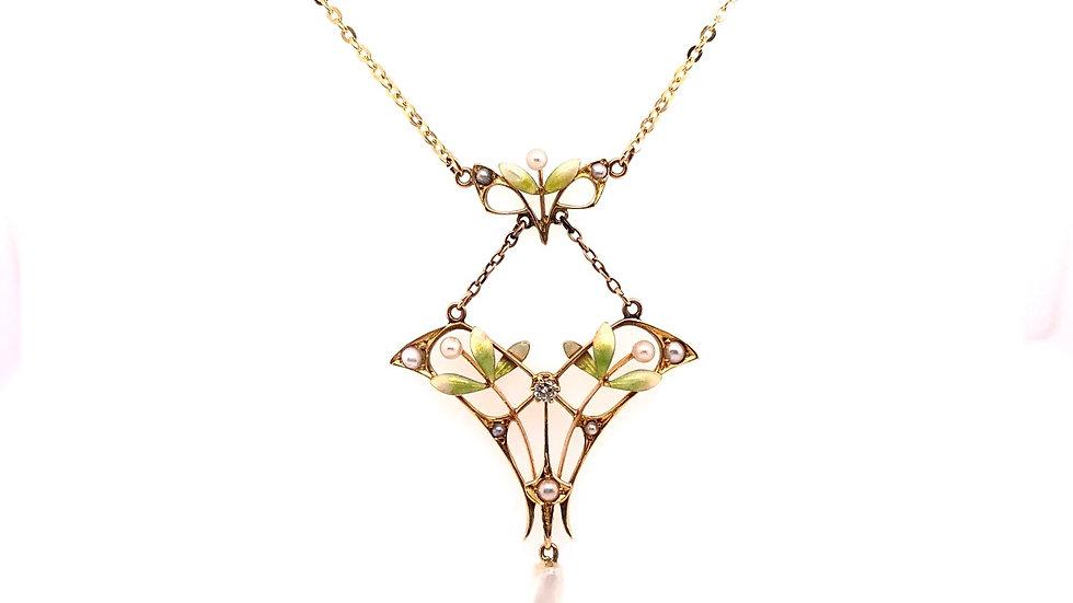 14K Art Nouvea Necklace