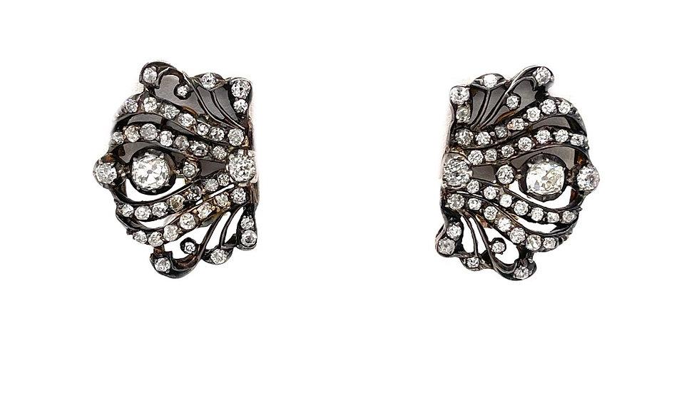 14K/Sterling Silver Diamond Earrings