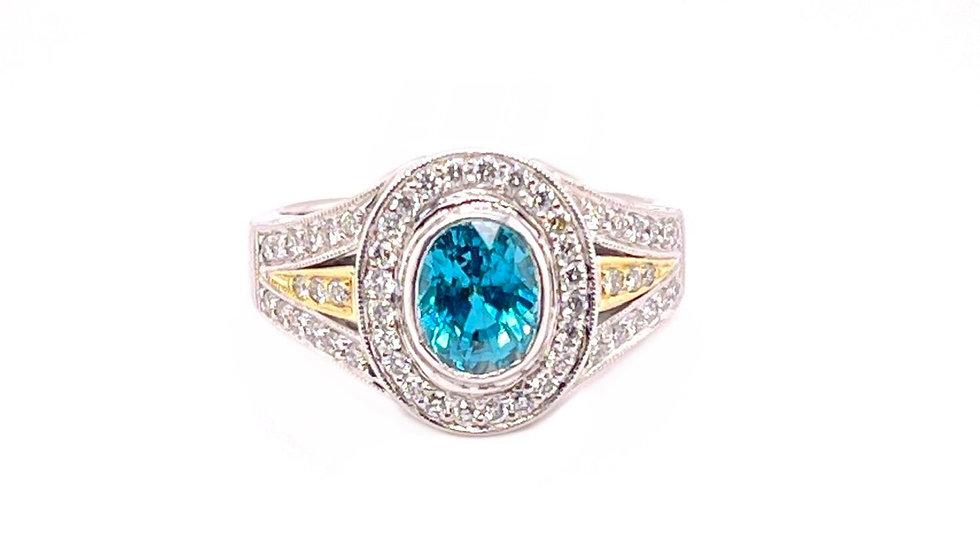 Platinum & 18KY Blue Zircon Diamond Ring