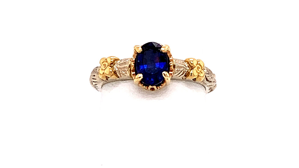 14K Two-Tone Sapphire Ring