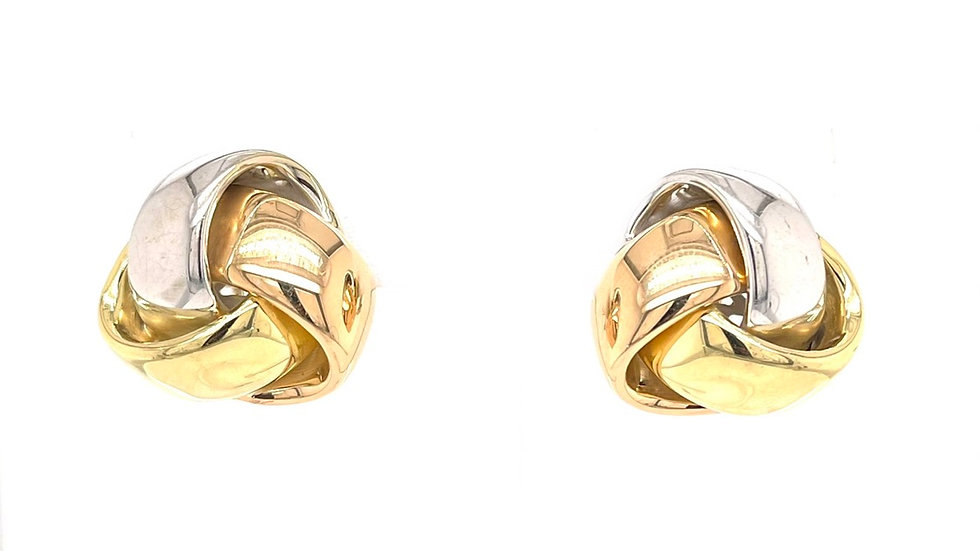 18K Tri-tone Knot Earrings