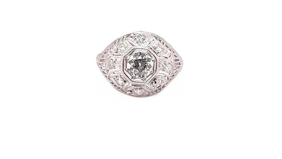 Platinum Diamond Fillagree Ring