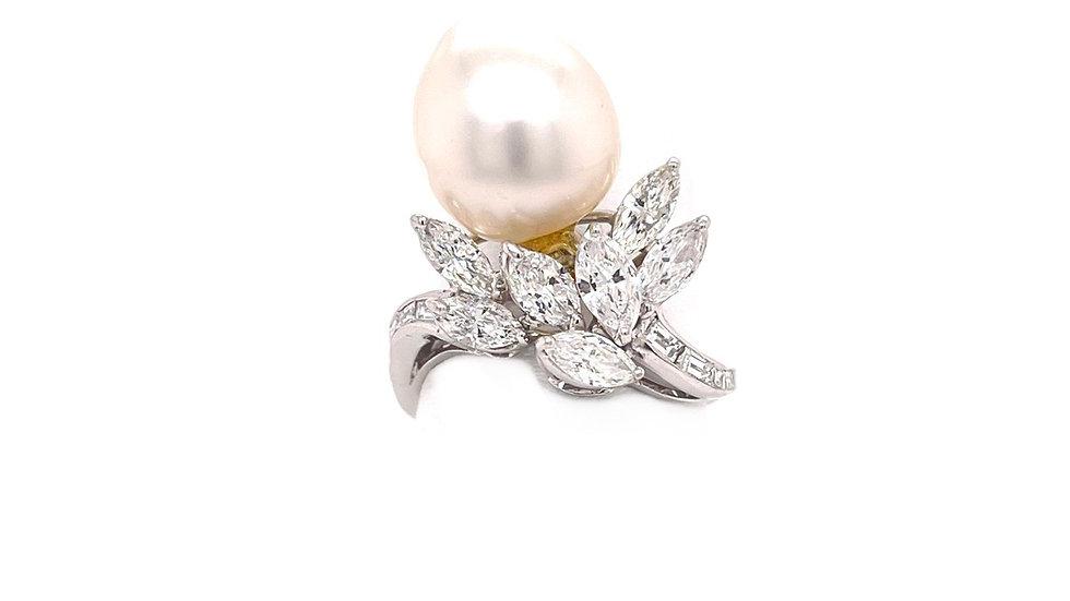Platinum Freshwater Pearl and Diamond Ring