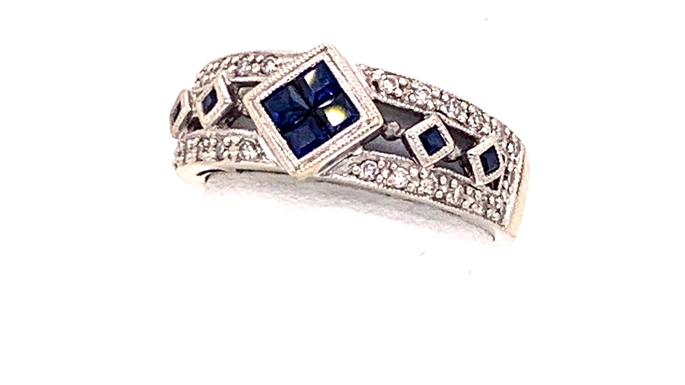 18kw White Gold Sapphire and Diamond Ring