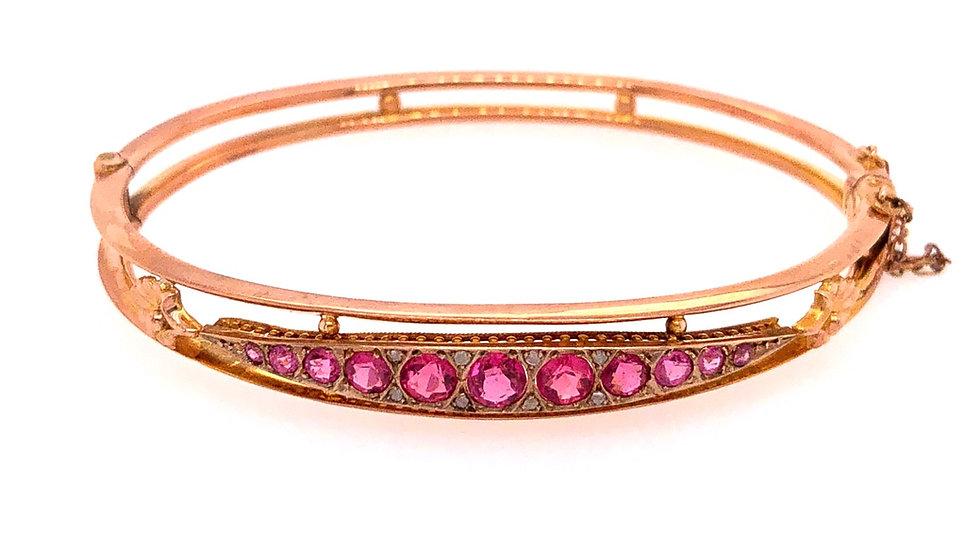 9K Tiffany & Co Pink Sapphire and Diamond Bracelet