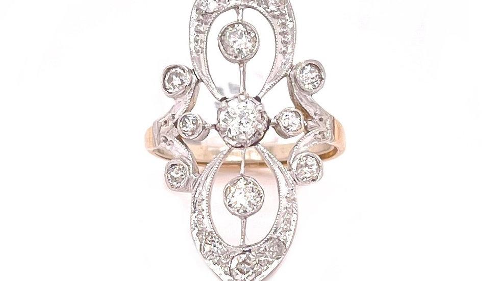 14K Navetye Diamond Ring