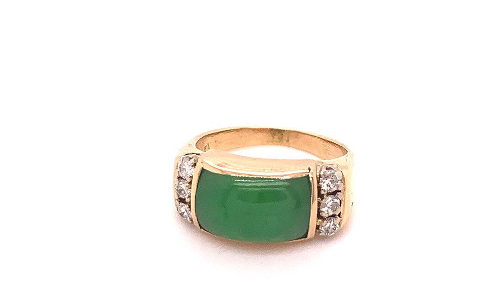 14K Yellow Gold Diamond and Jade Ring