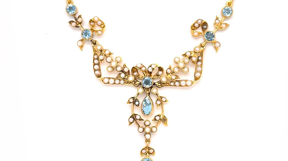 15K Aquamarine and Seed Pearl Necklace