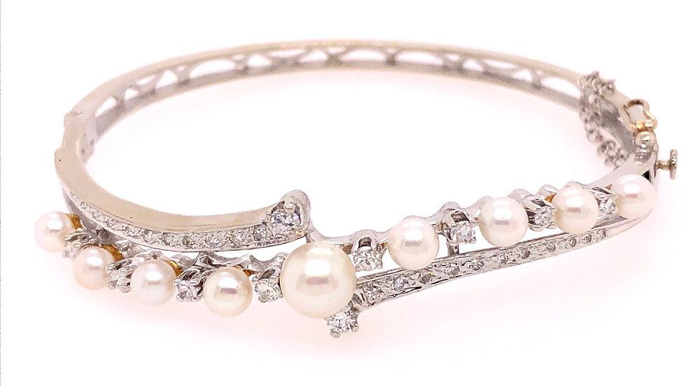 14K Cultured Pearl and Diamond Bracelet