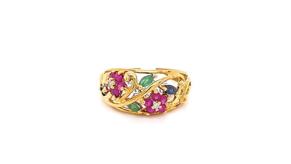 10K Yellow Gold Diamond, Ruby, Sapphire, and Emerald Ring