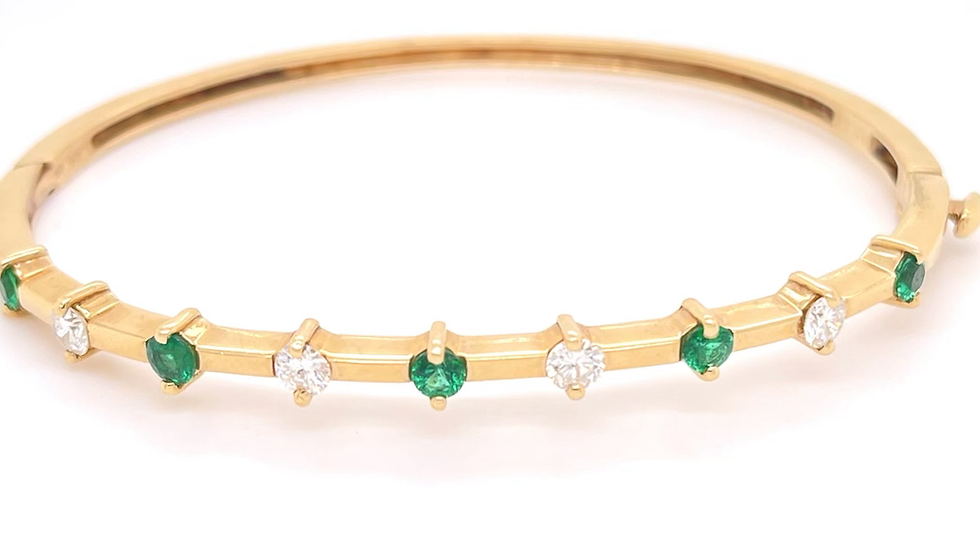14K yellow Diamond and Emerald Bangle Bracelet