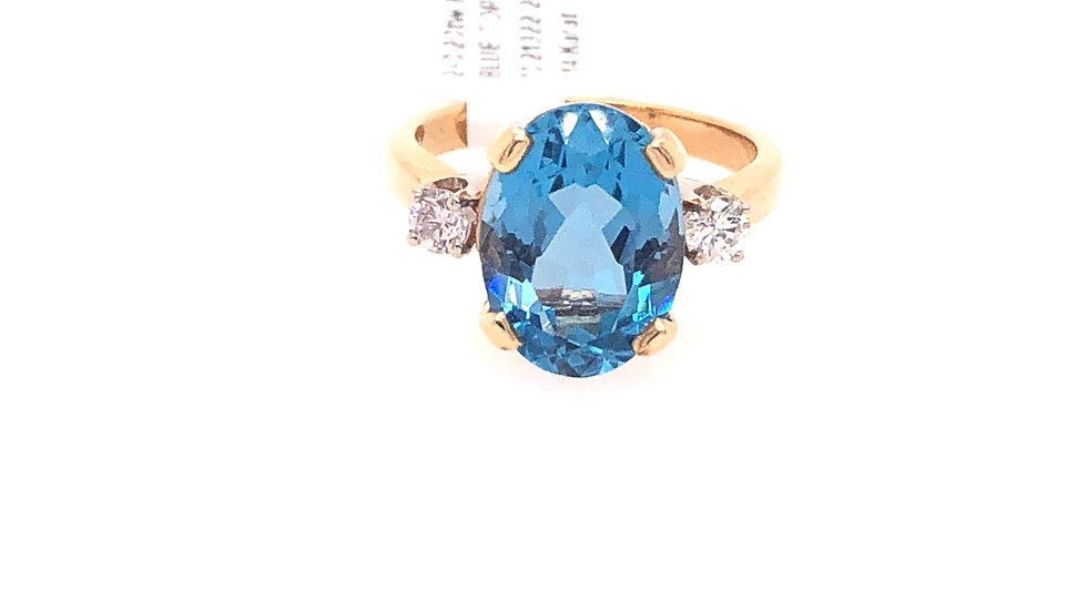 14K Blue Topaz and Diamond Ring