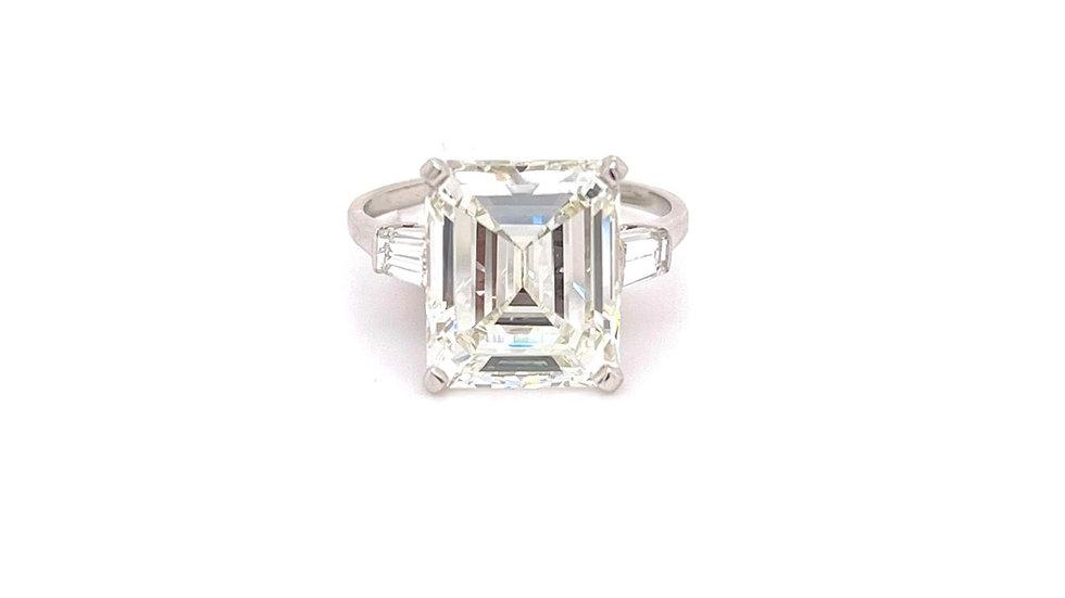 Platinum 7.65ct Emerald Cut Ring