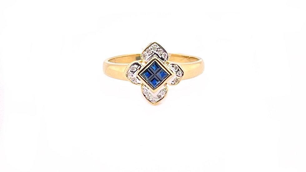 14K Yellow Sapphire and Diamond Ring