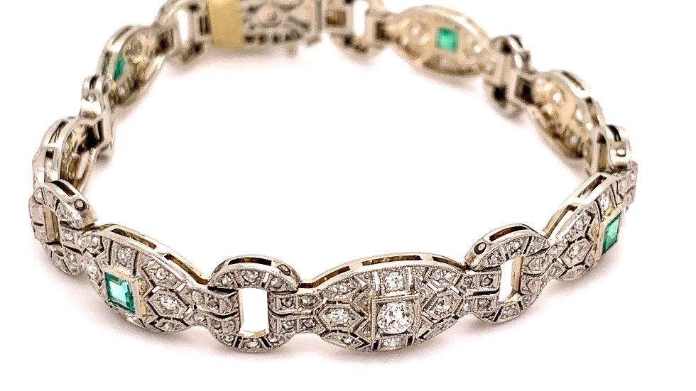 14K White Gold Emerald Bracelet