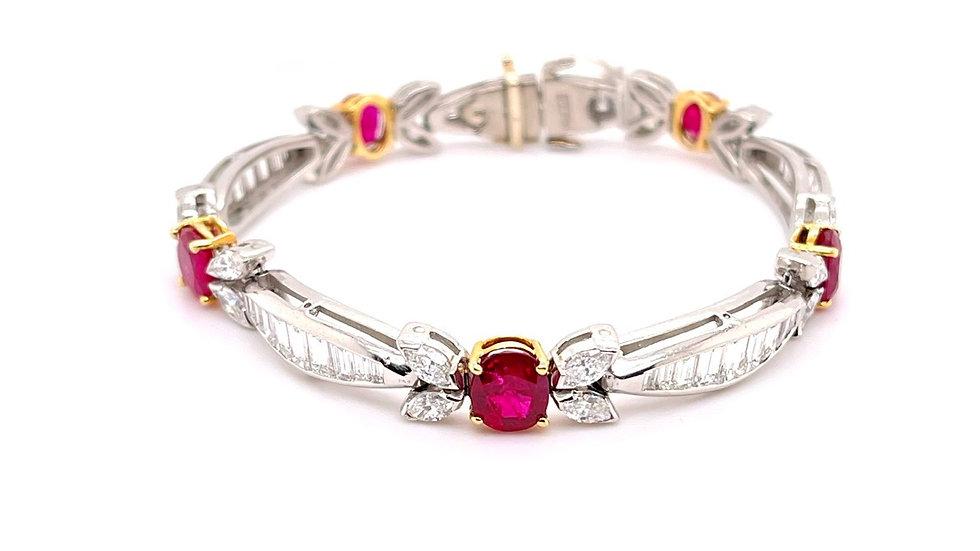 Platinum/18K Ruby and Diamond Bracelet