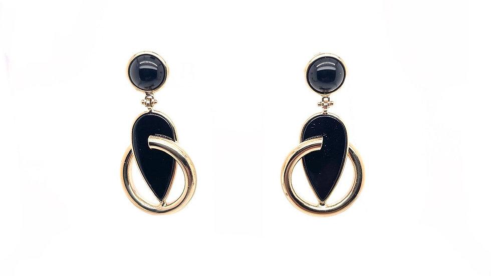 14K Onyx Drop Earrings