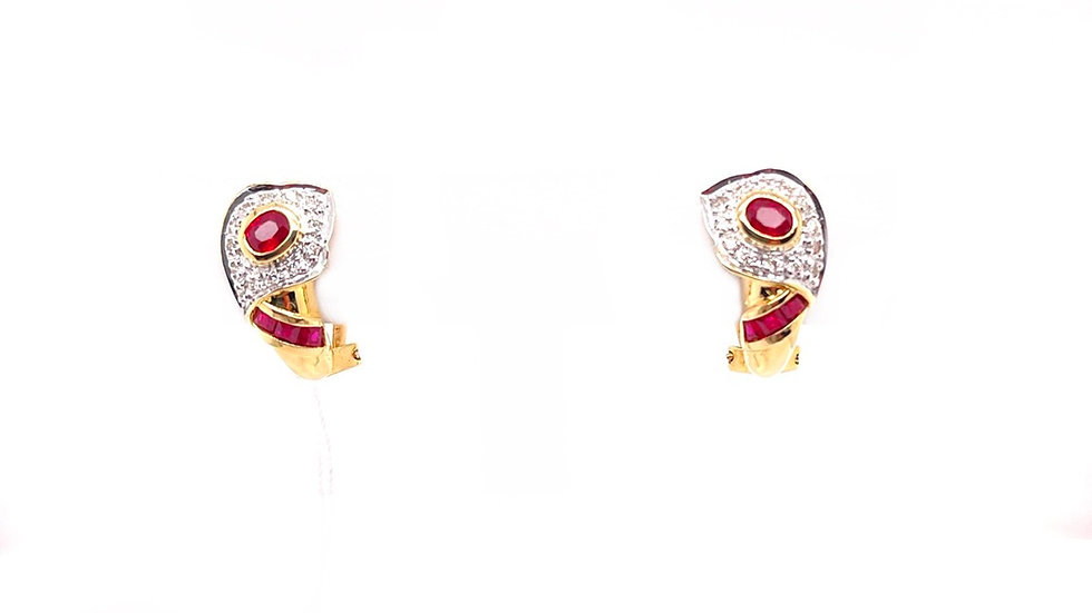 18K Ruby and Diamond Earrings