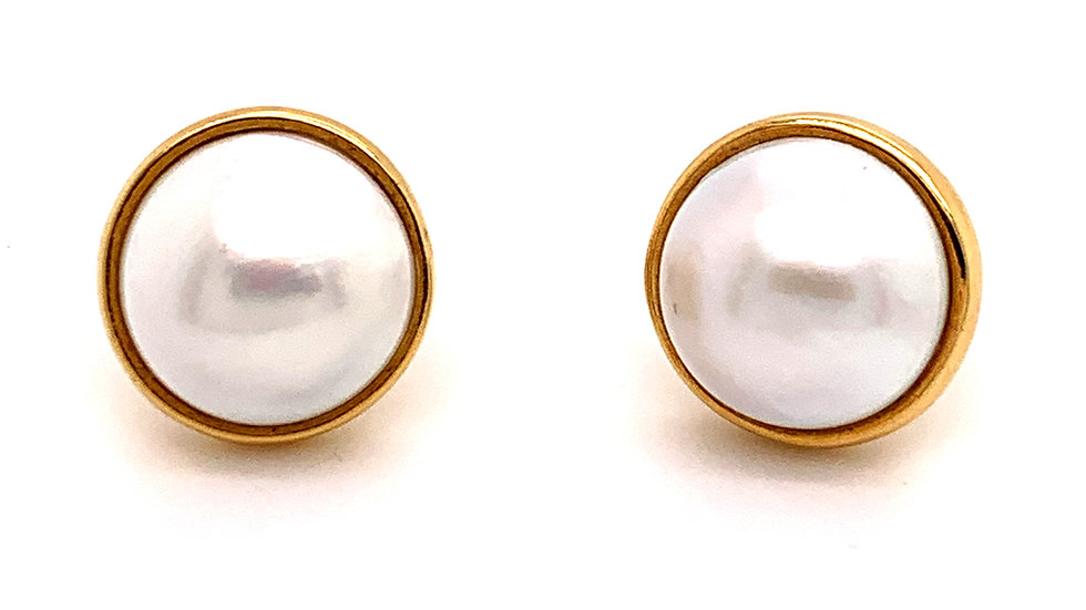 18K Yellow Gold Tiffany & Co Mabe Pearl Earrings