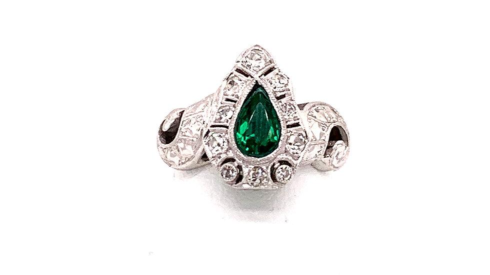 14K White Gold Diamond Emerald Ring